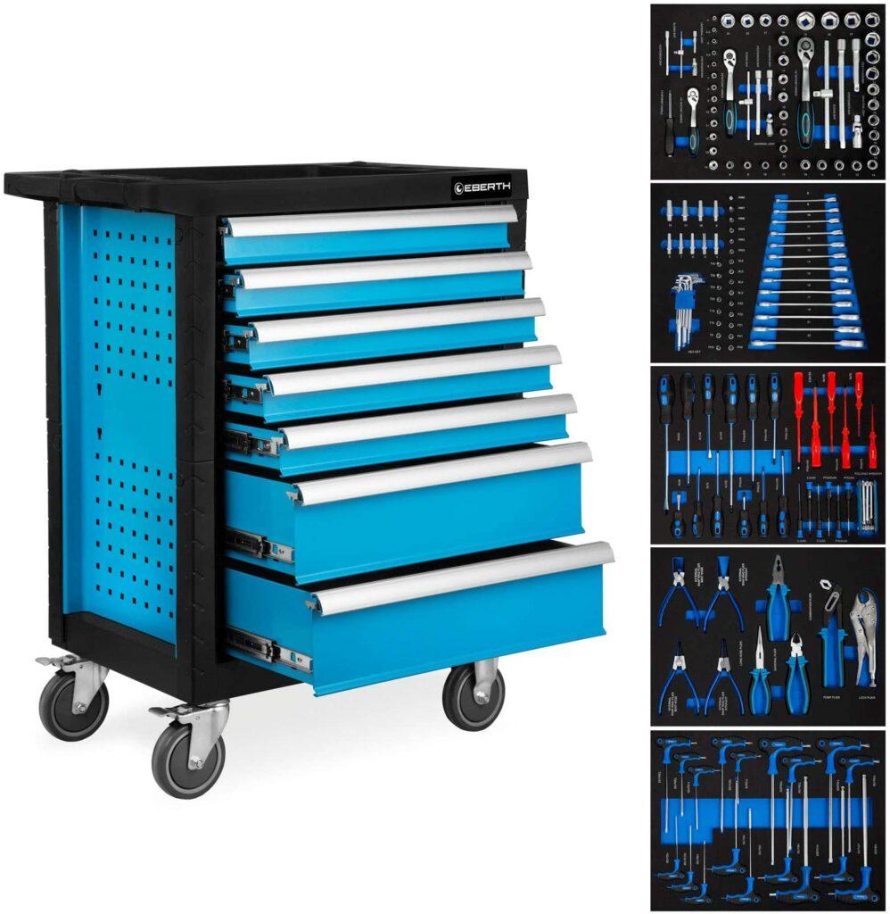 EBERTH Servante d'atelier avec Outils (7 tiroirs à roulements à billes, 5 tiroirs équipés d'outils, verrouillables