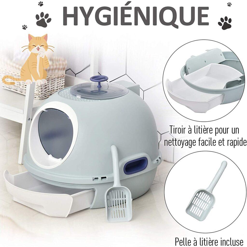 Pawhut Maison de Toilette Portable pour Chat tiroir à litière
