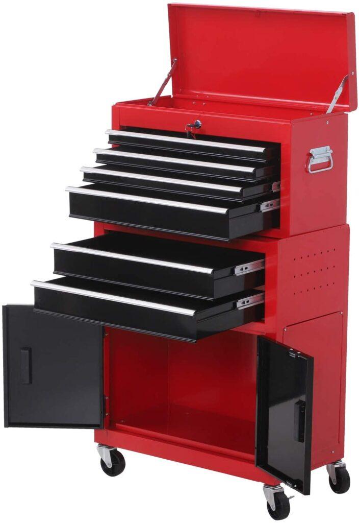 Servante d'atelier servante/caisse à outil 6 tiroir +1 commode coffre amovible